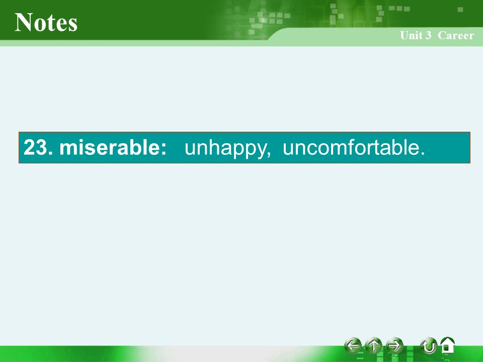 Unit 3 Career Notes 23. miserable: unhappy, uncomfortable.