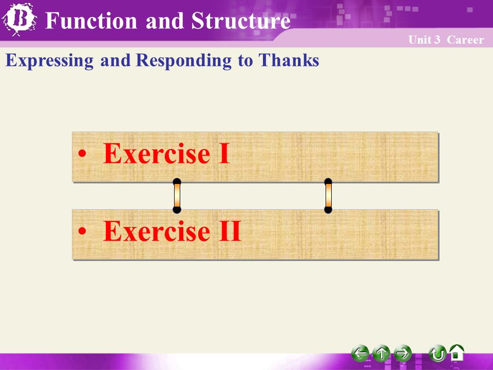 Function and Structure Unit 3 Career Exercise I Exercise II Expressing and Responding to Thanks