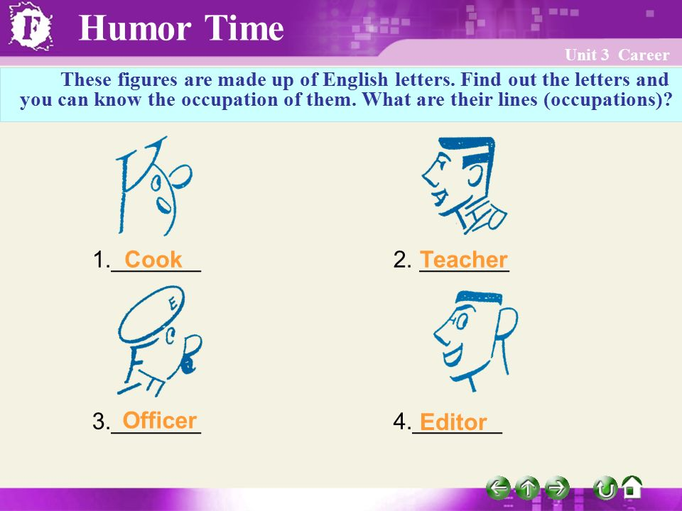 Humor Time Unit 3 Career These figures are made up of English letters.