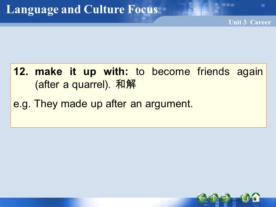 Unit 3 Career 12. make it up with: to become friends again (after a quarrel).