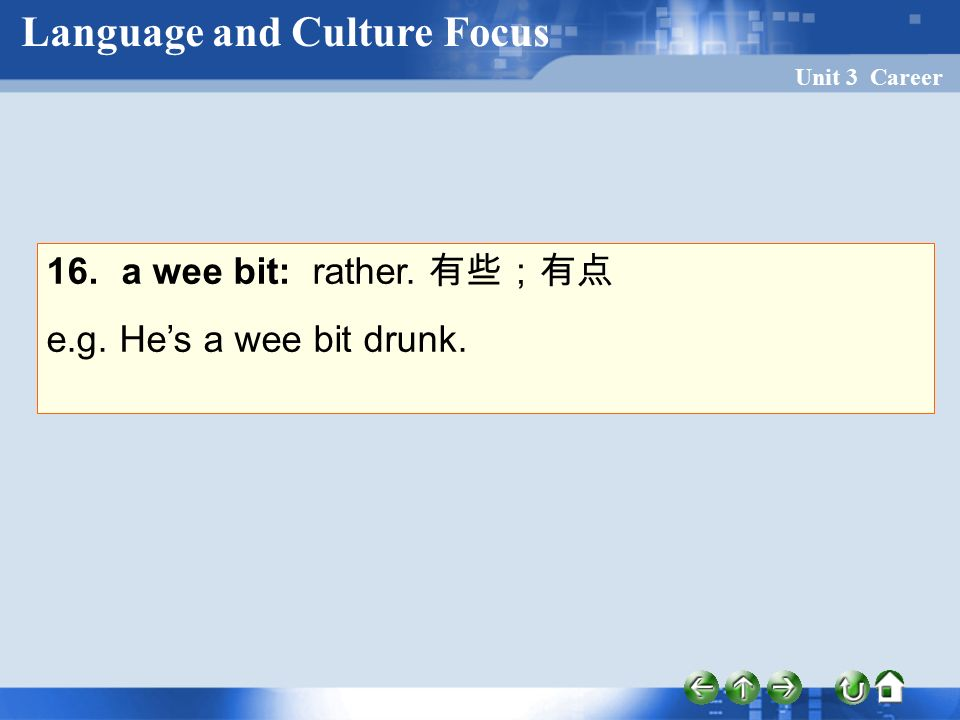 Unit 3 Career 16. a wee bit: rather. 有些;有点 e.g. He's a wee bit drunk. Language and Culture Focus
