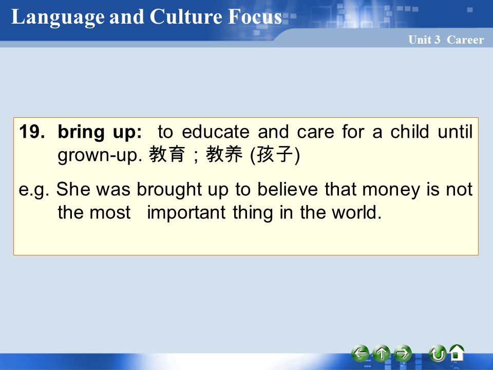 Unit 3 Career 19. bring up: to educate and care for a child until grown-up.