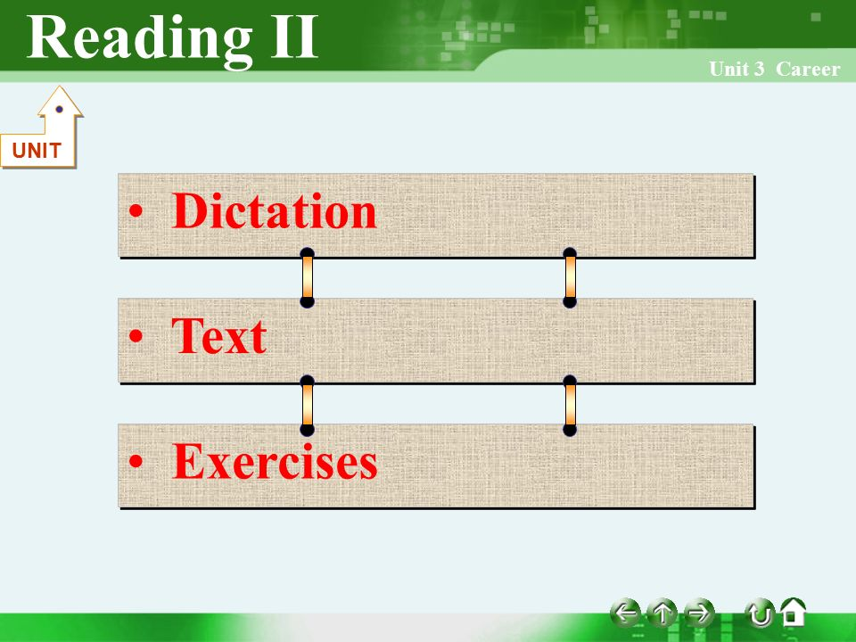 Reading II Unit 3 Career Dictation Text Exercises UNIT