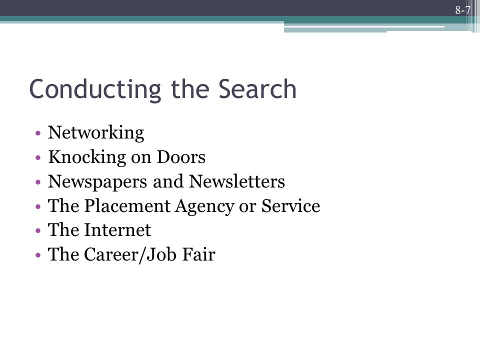 8-7 Conducting the Search Networking Knocking on Doors Newspapers and Newsletters The Placement Agency or Service The Internet The Career/Job Fair