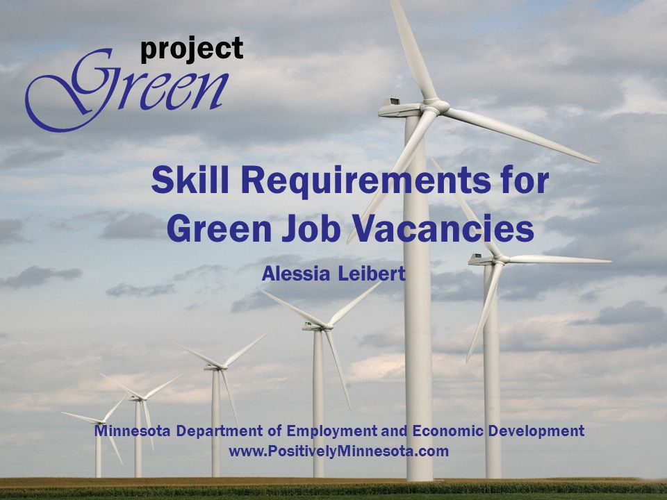 project Green Skill Requirements for Green Job Vacancies Alessia Leibert Minnesota Department of Employment and Economic Development