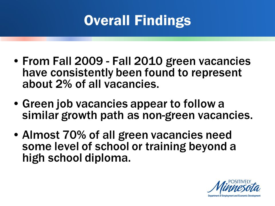 Overall Findings From Fall Fall 2010 green vacancies have consistently been found to represent about 2% of all vacancies.