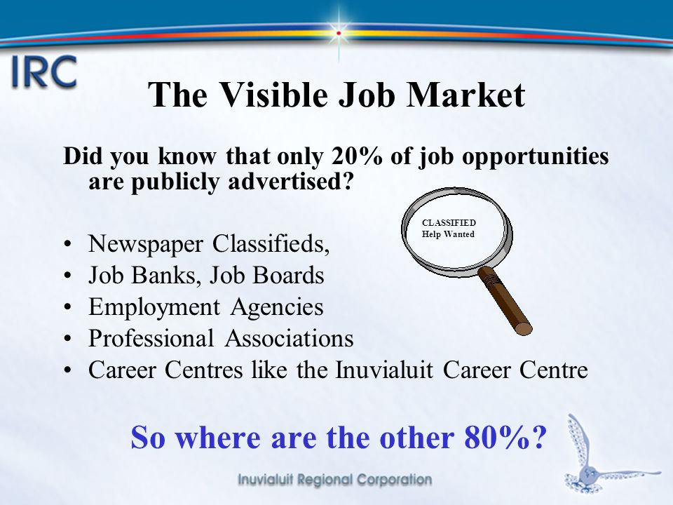 5 The Visible Job Market Did you know that only 20% of job opportunities are publicly advertised.