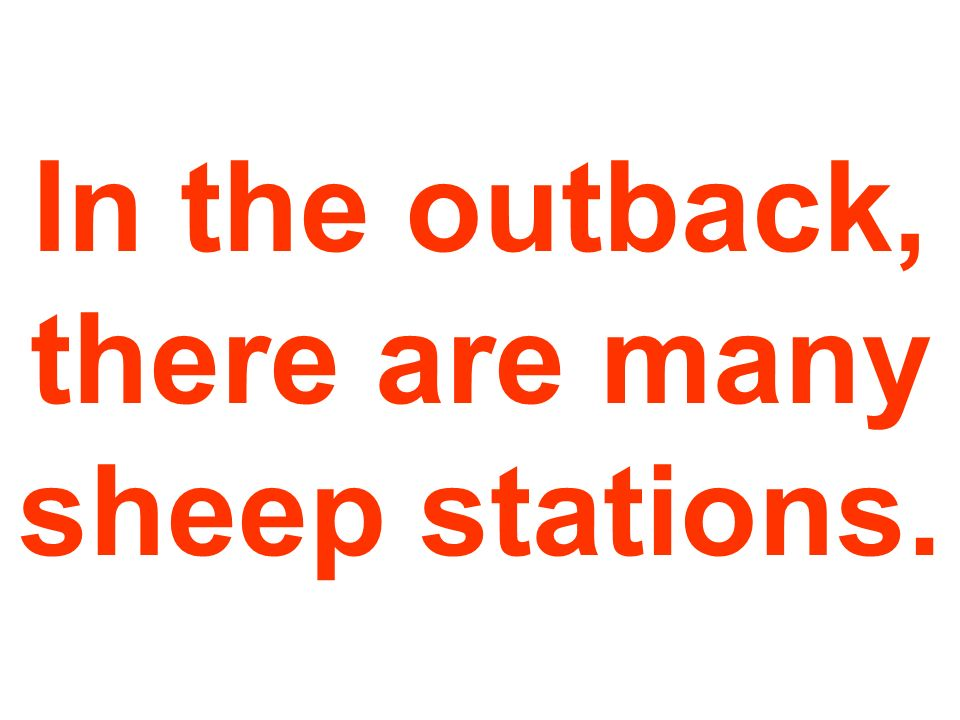 In the outback, there are many sheep stations.