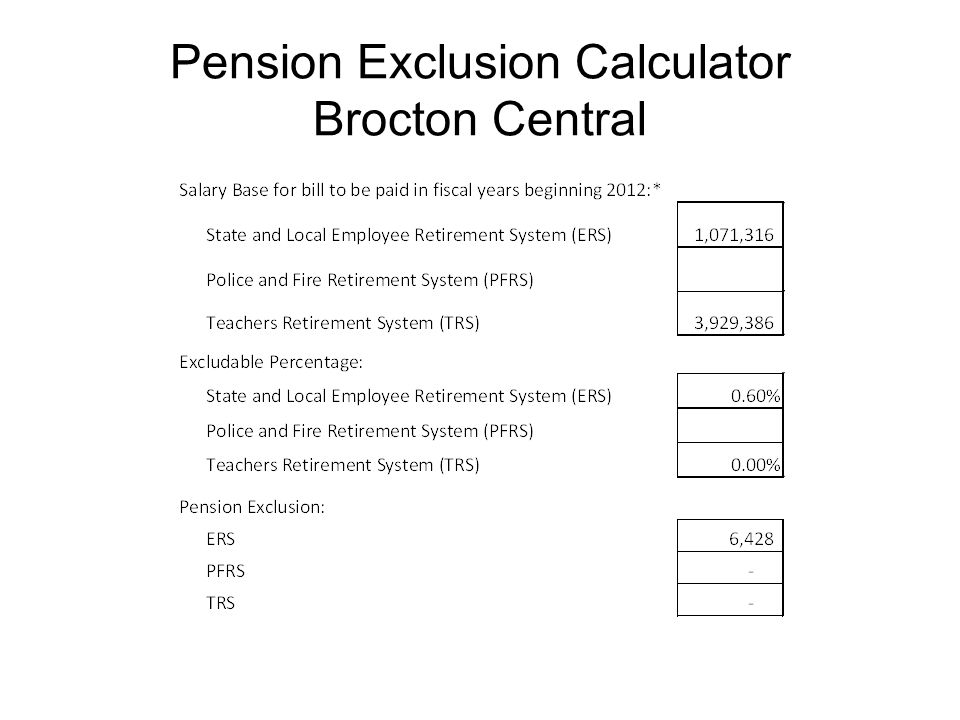 Pension Exclusion Calculator Brocton Central
