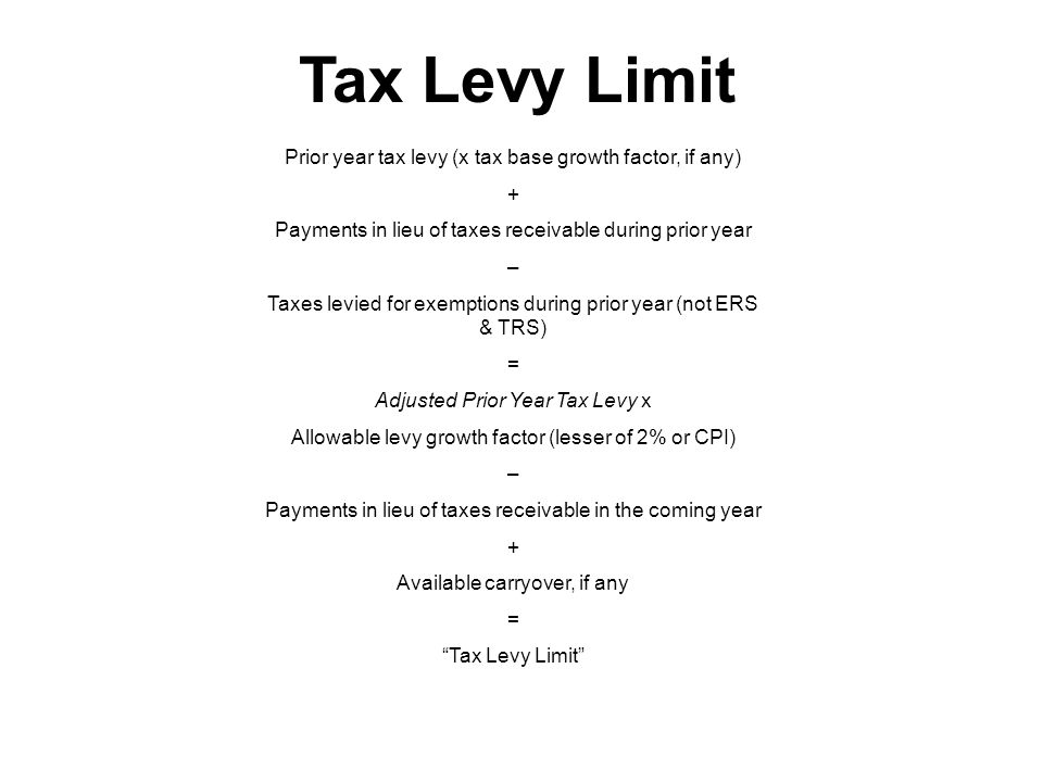 Tax Levy Limit Prior year tax levy (x tax base growth factor, if any) + Payments in lieu of taxes receivable during prior year – Taxes levied for exemptions during prior year (not ERS & TRS) = Adjusted Prior Year Tax Levy x Allowable levy growth factor (lesser of 2% or CPI) – Payments in lieu of taxes receivable in the coming year + Available carryover, if any = Tax Levy Limit