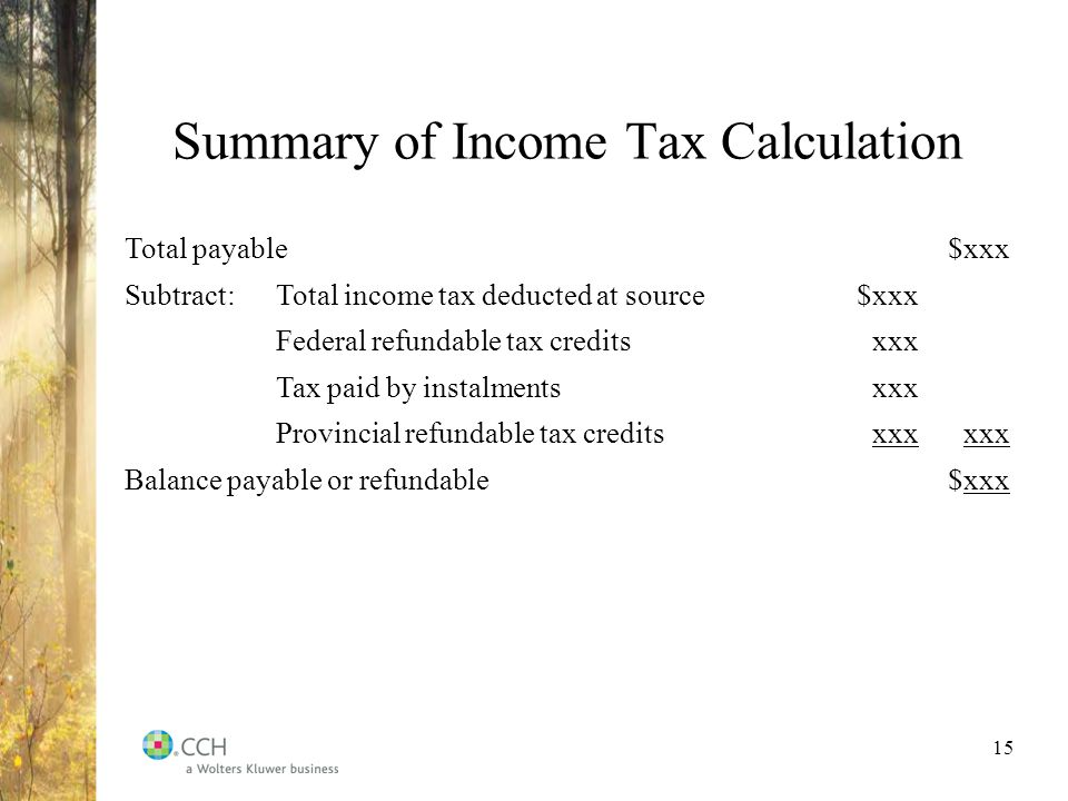 15 summary of income tax calculation total payablexxx subtracttotal income tax deducted at sourcexxx federal refundable tax creditsxxx tax paid by