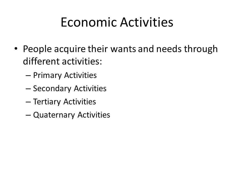 Economic Activities People acquire their wants and needs through different activities: – Primary Activities – Secondary Activities – Tertiary Activities – Quaternary Activities