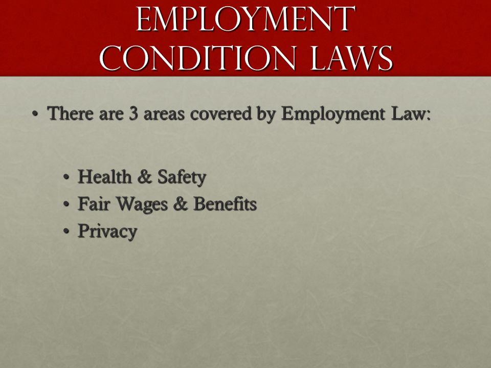 Employment Condition Laws There are 3 areas covered by Employment Law:There are 3 areas covered by Employment Law: Health & SafetyHealth & Safety Fair Wages & BenefitsFair Wages & Benefits PrivacyPrivacy