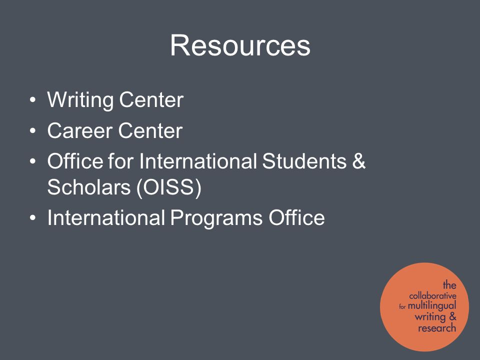 Resources Writing Center Career Center Office for International Students & Scholars (OISS) International Programs Office