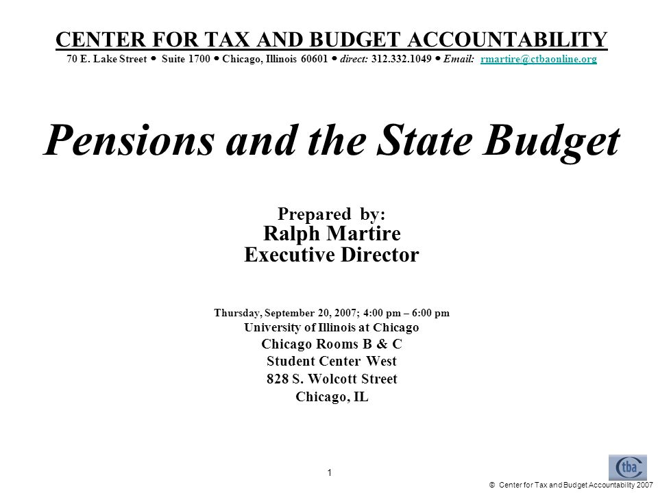 Center For Tax And Budget Accountability CENTER FOR TAX AND BUDGET ACCOUNTABILITY 70 E
