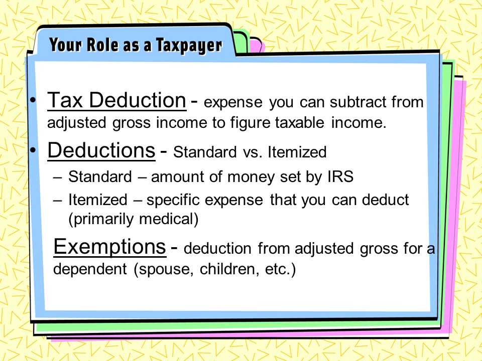 Tax Deduction - expense you can subtract from adjusted gross income to figure taxable income.
