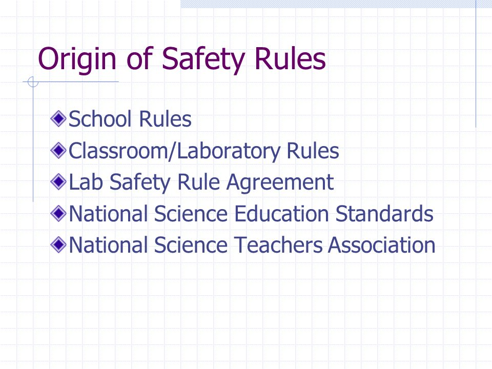 Origin of Safety Rules School Rules Classroom/Laboratory Rules Lab Safety Rule Agreement National Science Education Standards National Science Teachers Association