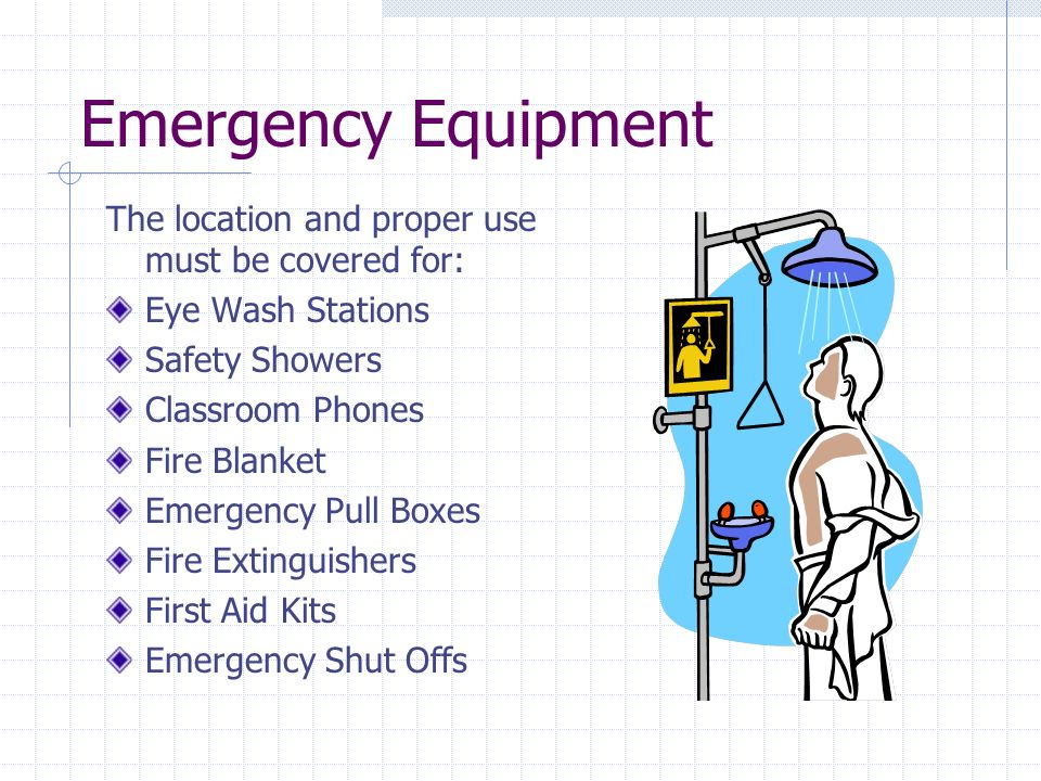 Emergency Equipment The location and proper use must be covered for: Eye Wash Stations Safety Showers Classroom Phones Fire Blanket Emergency Pull Boxes Fire Extinguishers First Aid Kits Emergency Shut Offs