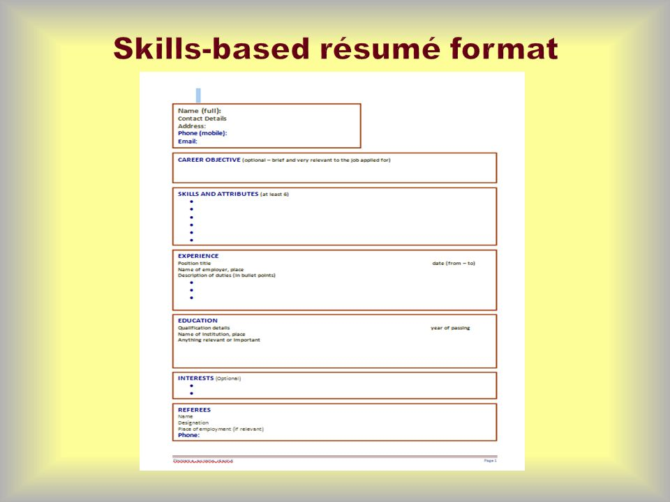 some tips and examples of the different sections of a skills based