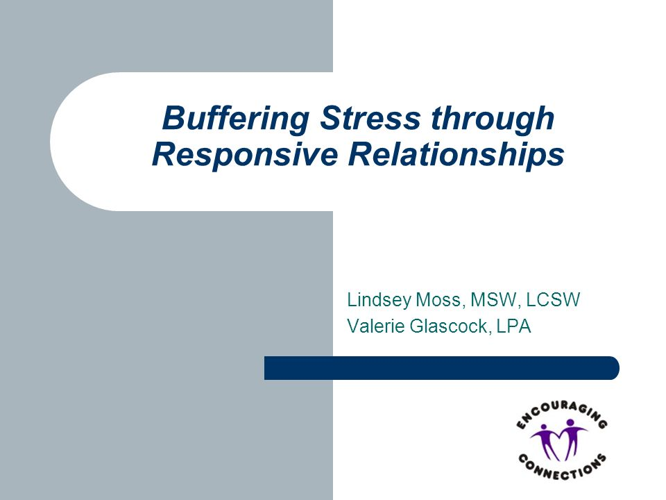 Lindsey Moss, MSW, LCSW Valerie Glascock, LPA Buffering Stress through Responsive Relationships