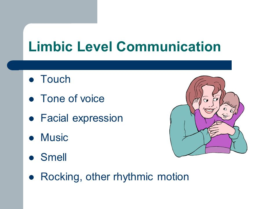 Limbic Level Communication Touch Tone of voice Facial expression Music Smell Rocking, other rhythmic motion