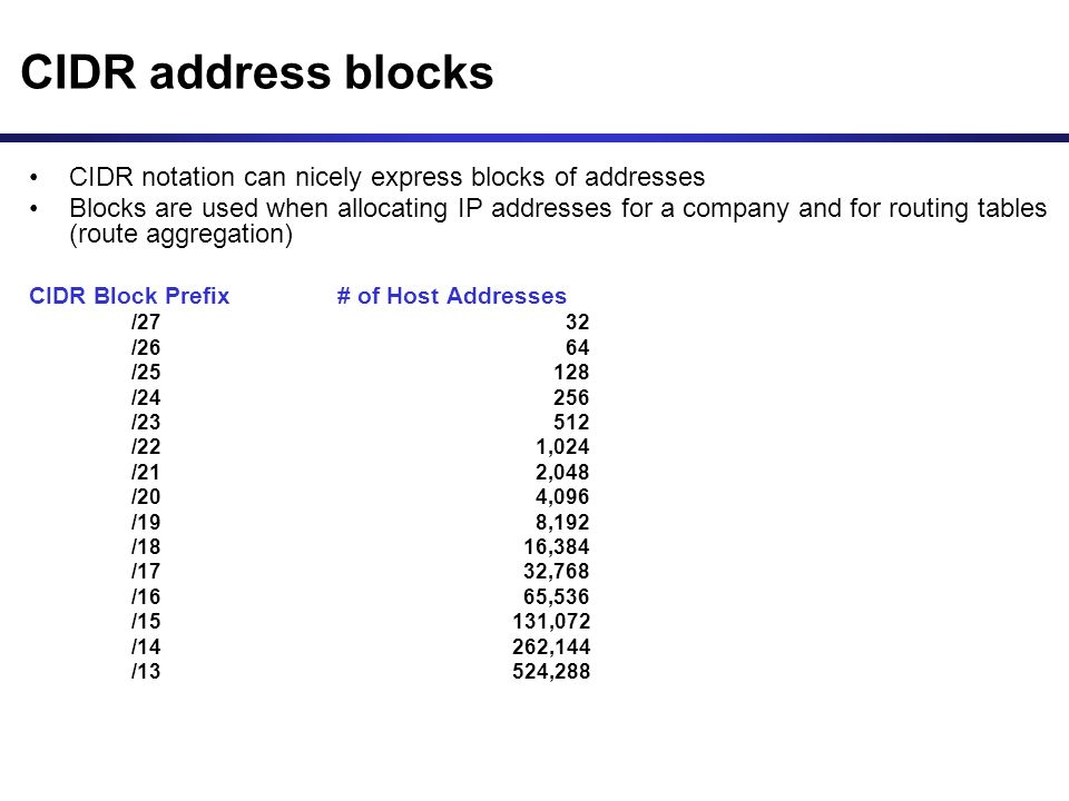 CIDR address blocks CIDR notation can nicely express blocks of addresses Blocks are used when allocating IP addresses for a company and for routing tables (route aggregation) CIDR Block Prefix # of Host Addresses /2732 /2664 /25128 /24256 /23512 /221,024 /212,048 /204,096 /198,192 /1816,384 /1732,768 /1665,536 /15131,072 /14262,144 /13524,288