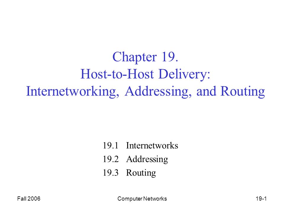 Fall 2006Computer Networks19-1 Chapter 19.