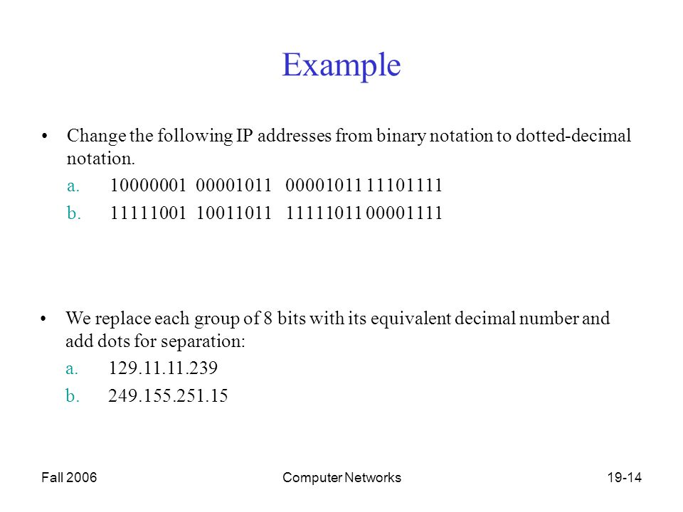 Fall 2006Computer Networks19-14 Example Change the following IP addresses from binary notation to dotted-decimal notation.