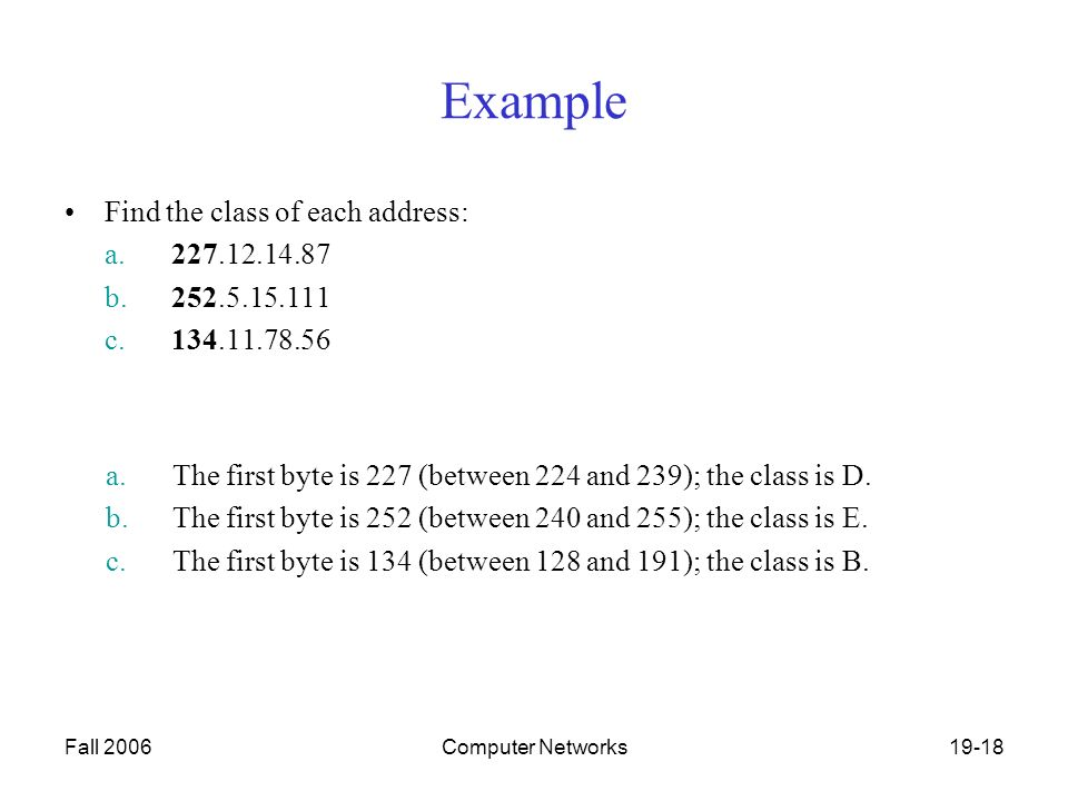 Fall 2006Computer Networks19-18 Example Find the class of each address: a b c a.The first byte is 227 (between 224 and 239); the class is D.