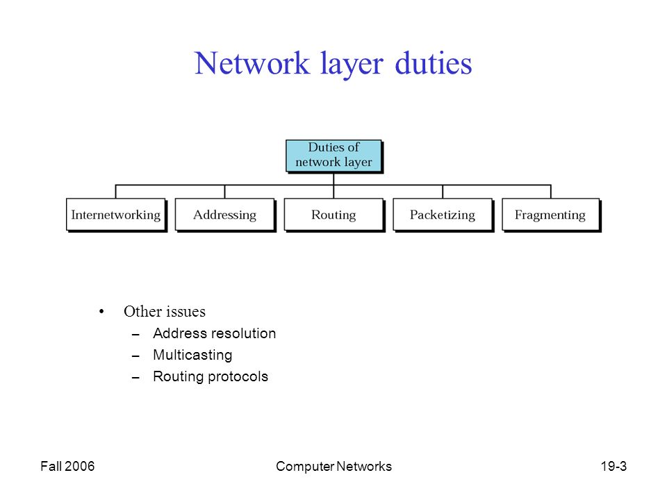 Fall 2006Computer Networks19-3 Network layer duties Other issues –Address resolution –Multicasting –Routing protocols