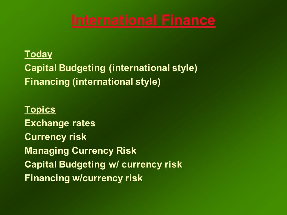 interesting international finance topics