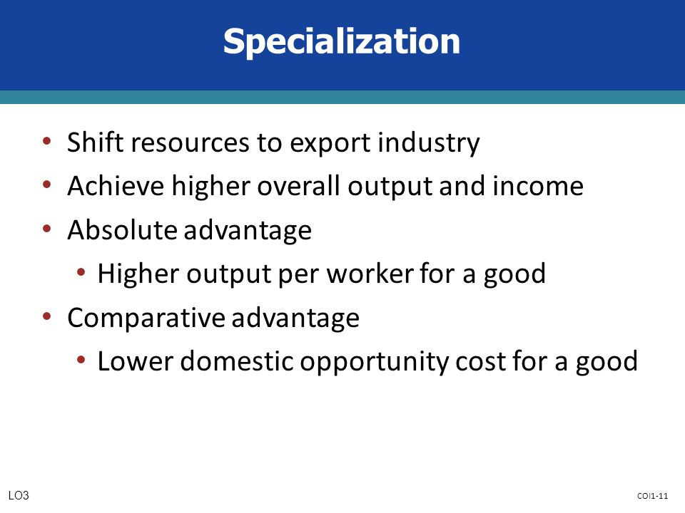 COI1-11 Specialization Shift resources to export industry Achieve higher overall output and income Absolute advantage Higher output per worker for a good Comparative advantage Lower domestic opportunity cost for a good LO3