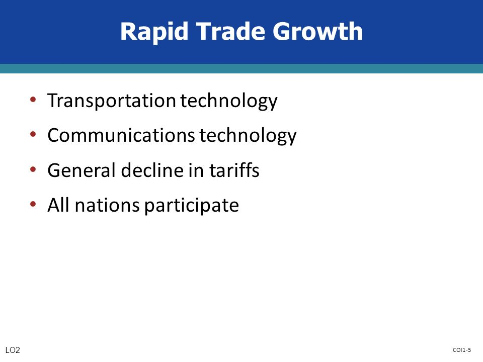 COI1-5 Rapid Trade Growth Transportation technology Communications technology General decline in tariffs All nations participate LO2