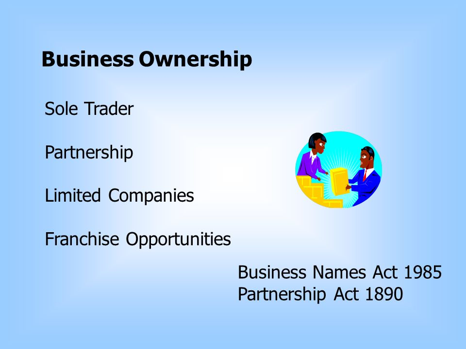 Business Ownership Sole Trader Partnership Limited Companies Franchise Opportunities Business Names Act 1985 Partnership Act 1890