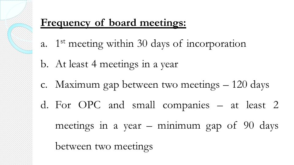frequency of board meetings under companies act