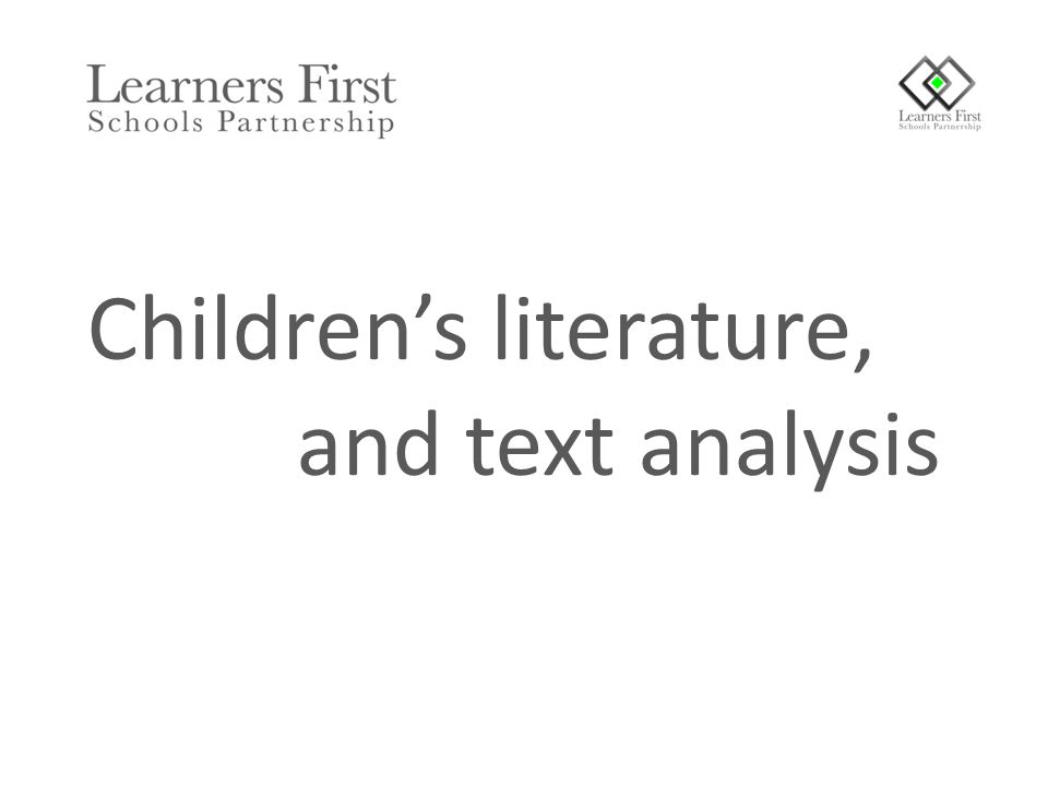 Children's literature, and text analysis