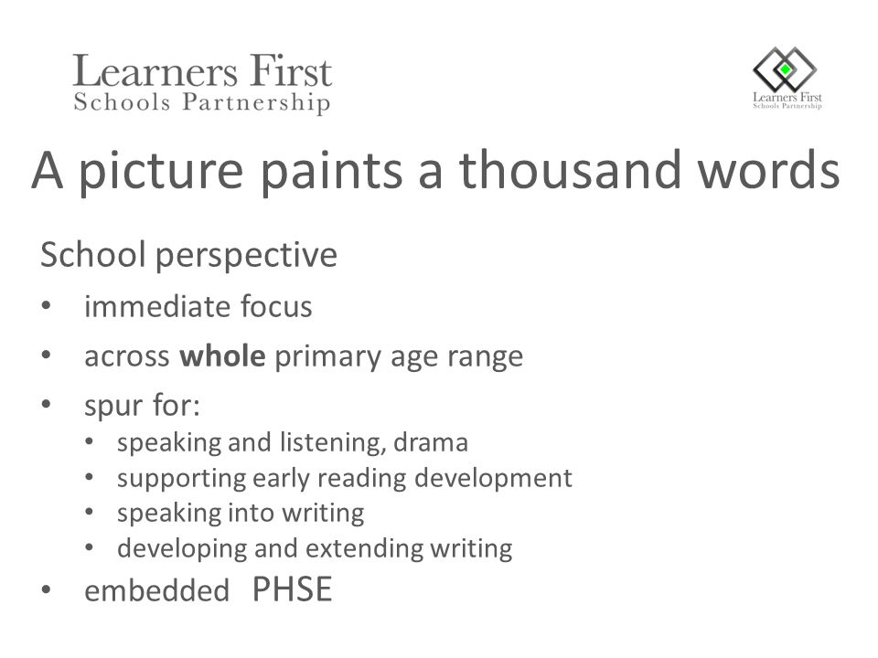 School perspective immediate focus across whole primary age range spur for: speaking and listening, drama supporting early reading development speaking into writing developing and extending writing embedded PHSE A picture paints a thousand words