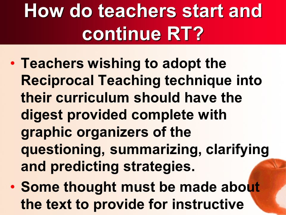 Teachers wishing to adopt the Reciprocal Teaching technique into their curriculum should have the digest provided complete with graphic organizers of the questioning, summarizing, clarifying and predicting strategies.