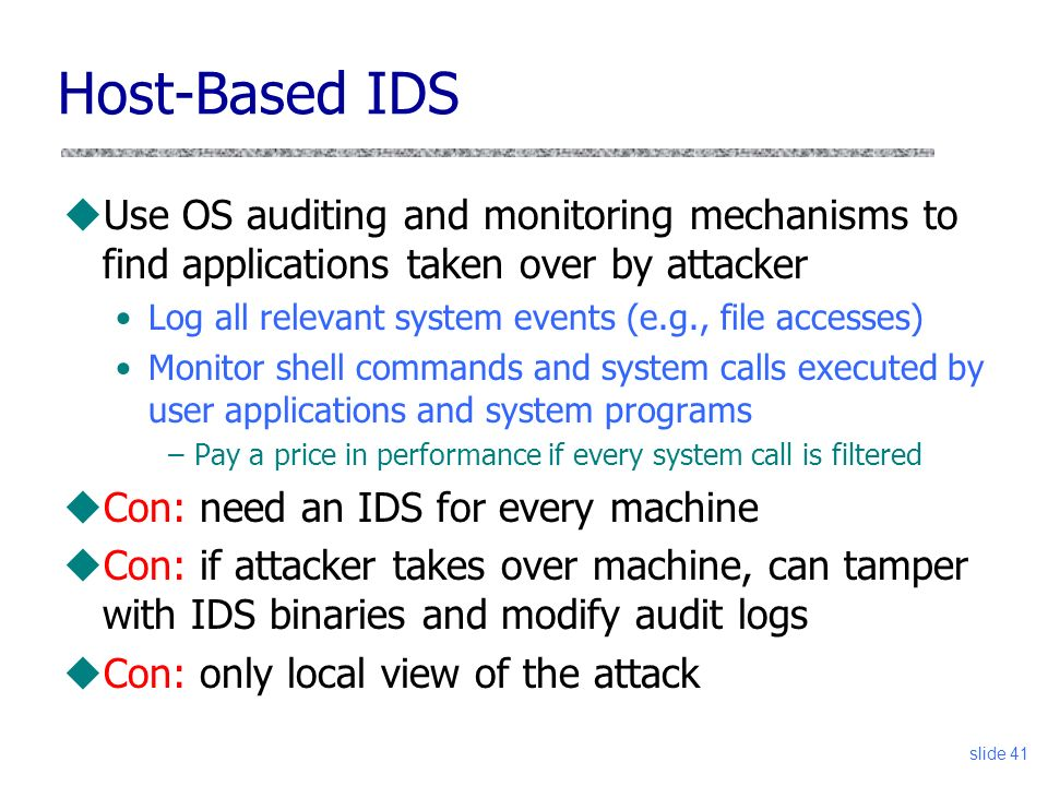 Vitaly Shmatikov CS 361S Firewalls and Intrusion Detection slide ppt