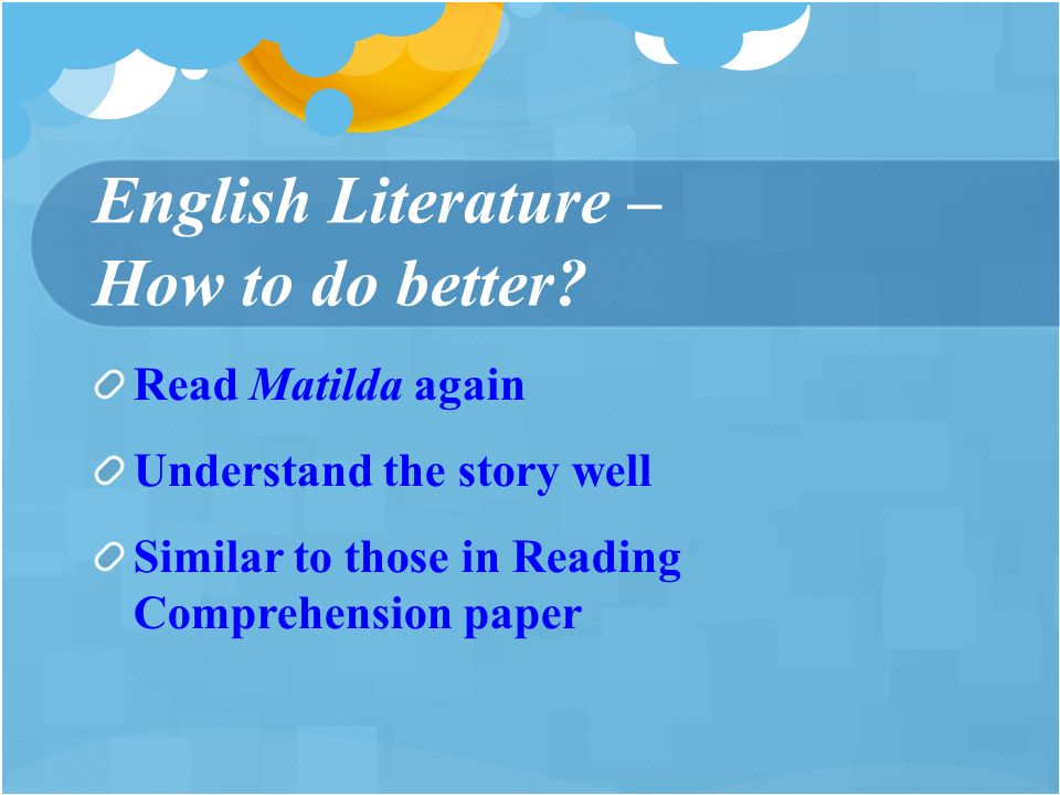 English Literature – How to do better.