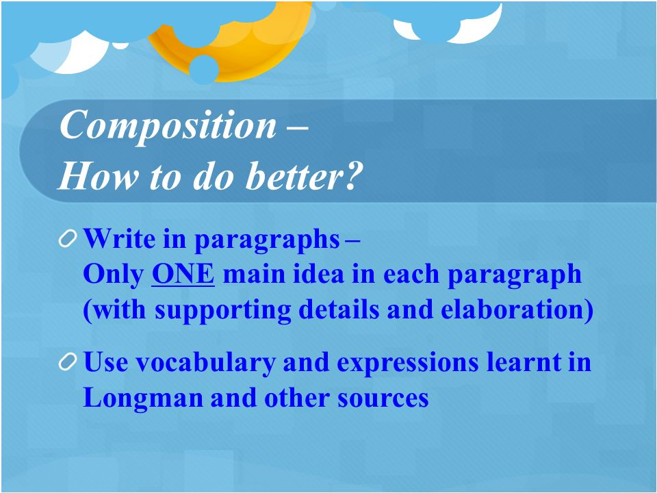 Composition – How to do better.