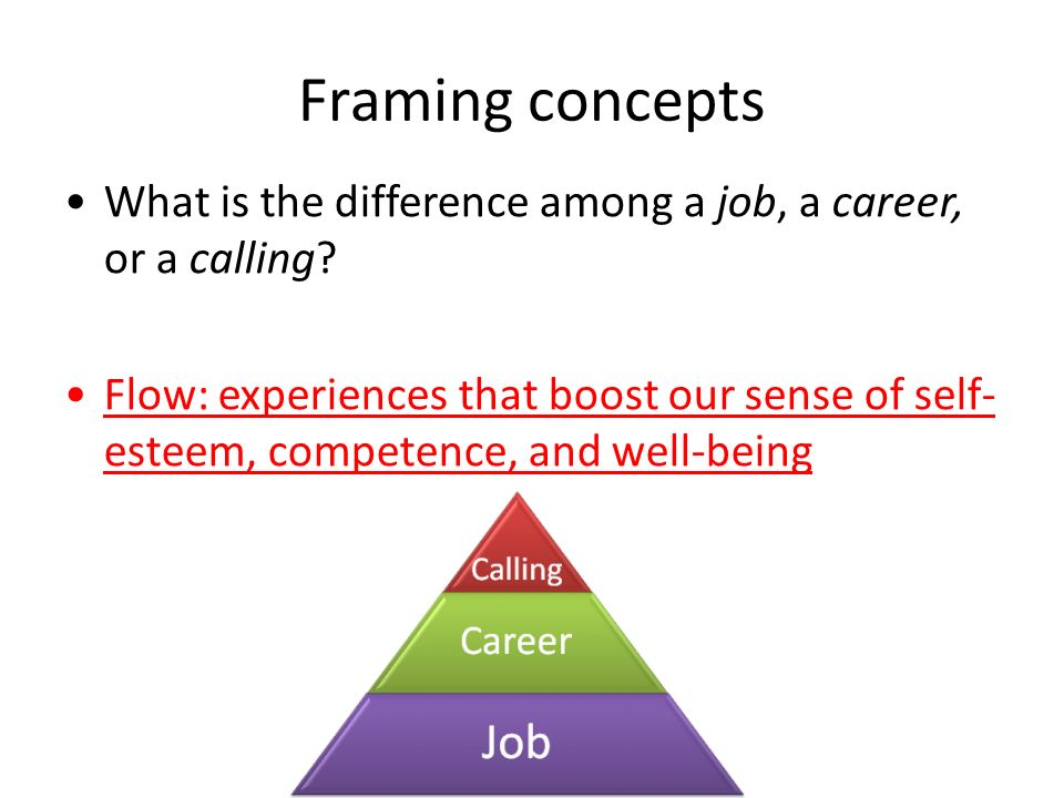 Framing concepts What is the difference among a job, a career, or a calling.