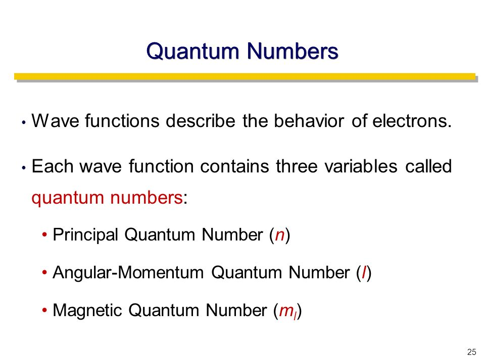 25 Quantum Numbers Wave functions describe the behavior of electrons.