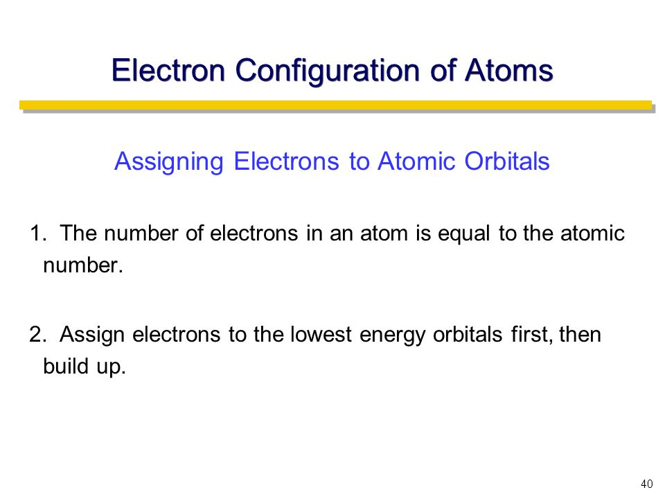 40 Electron Configuration of Atoms Assigning Electrons to Atomic Orbitals 1.