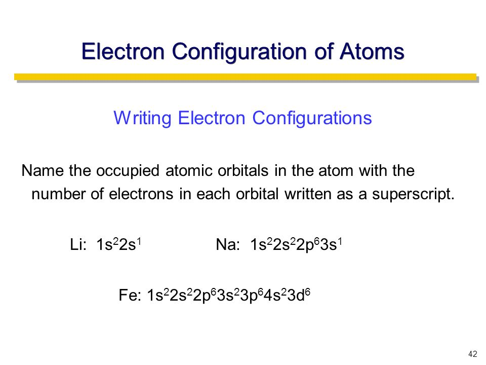 42 Electron Configuration of Atoms Writing Electron Configurations Name the occupied atomic orbitals in the atom with the number of electrons in each orbital written as a superscript.