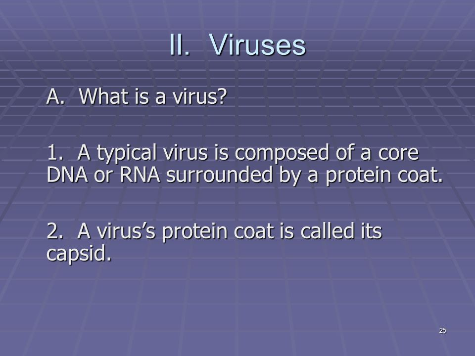 25 II. Viruses A. What is a virus. 1.