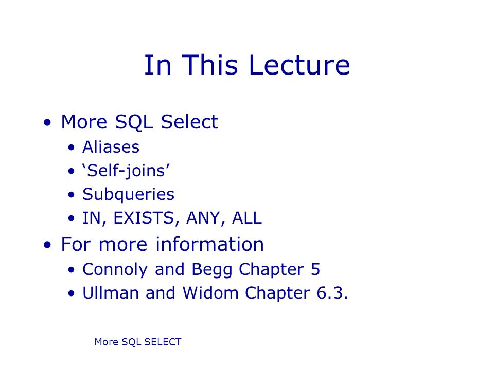 More SQL Select Database Systems Lecture 8 Natasha Alechina