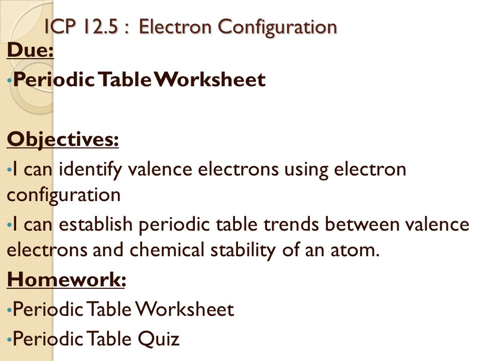 Periodic table trends periodic table trends objectives i can icp 125 electron configuration icp 125 electron configuration due periodic table worksheet objectives urtaz Image collections