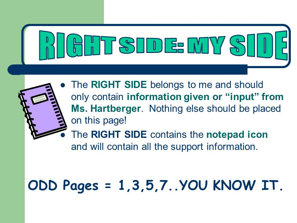 The RIGHT SIDE belongs to me and should only contain information given or input from Ms.