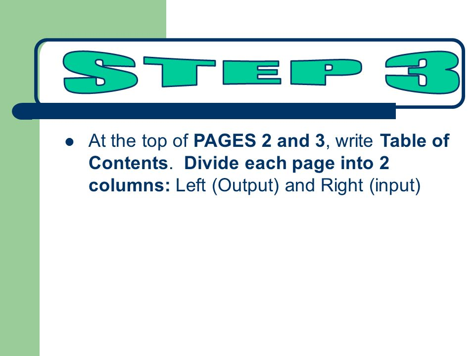 At the top of PAGES 2 and 3, write Table of Contents.